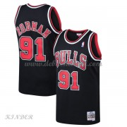 Basketball Trikot Kinder Chicago Bulls Kids 1997-98 Dennis Rodman 91# Black Hardwood Classics Swingm..