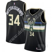 Basketball Trikot Kinder Milwaukee Bucks 2019-20 Giannis Antetokounmpo 34# Schwarz Finished Statemen..