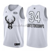 Milwaukee Bucks Basketball Trikots Giannis Antetokounmpo 34# White 2018 All Star Game Swingman..