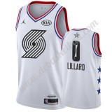 Portland Trail Blazers Basketball Trikots 2019 Damian Lillard 0# Weiß All Star Game Swingman